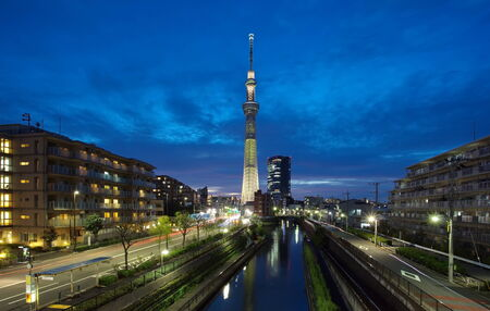sumida: Tokyo sky tree and sumida river with summer light up Stock Photo