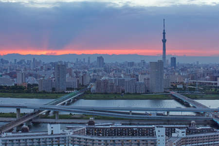 beautiful view of tokyo city with tokyo sky tree at sunset time