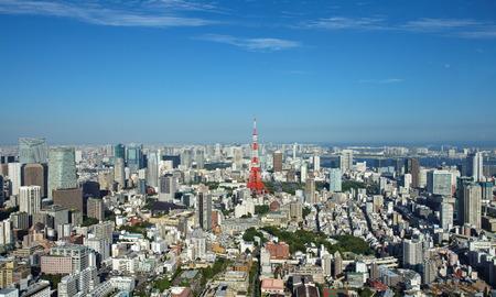 도쿄의 도시와 도쿄 타워의 전망