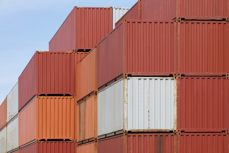Colorful of freight shipping containers at the docks photo