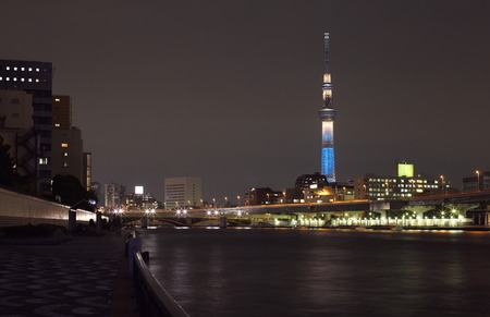 sumida ku: Tokyo sky tree and Sumida river Stock Photo