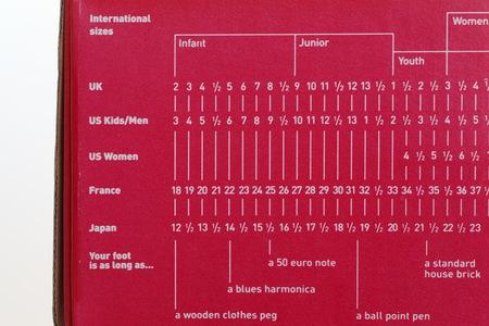 us sizes: Close - up shoes international size on shoes box