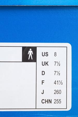 box size: Close - up shoes international size on shoes box