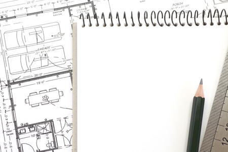 life extension: Blank white paper note book with architectural plan,
