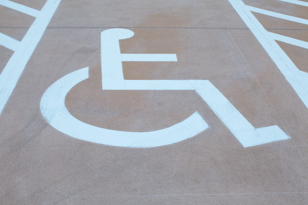pictorial  representation: Several handicap parking areas reserved for disabled people Stock Photo