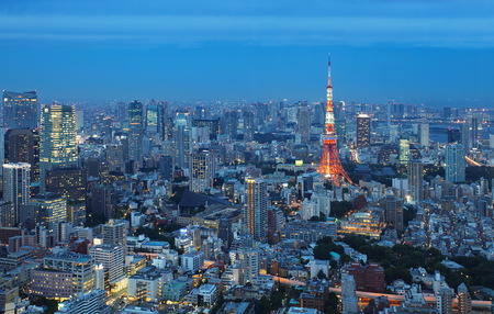 View of Tokyo city and Tokyo Tower in evening Stock Photo