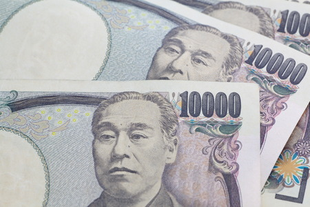 Close - up Japanese yen banknote  for finance concept photo
