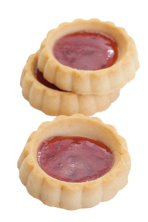 jam tarts: Sour and sweet strawberry jam in soft delicious tartlet Stock Photo