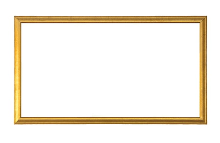 Gold wooden picture frame isolated on a white background