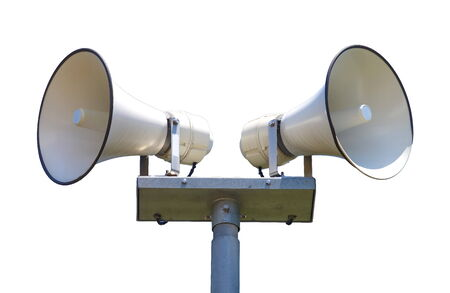 Two white loudspeaker isolated on a white background photo