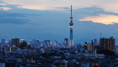 sumida ku: Tokyo sky tree and blue lighting in evening time