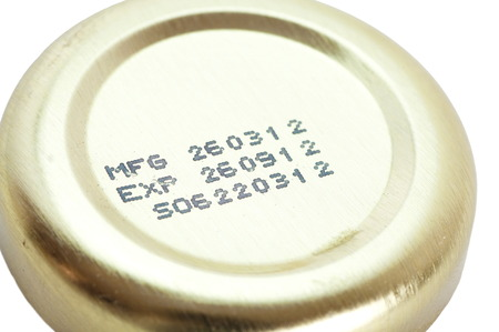 Expiry date printed on gold lid bottle photo