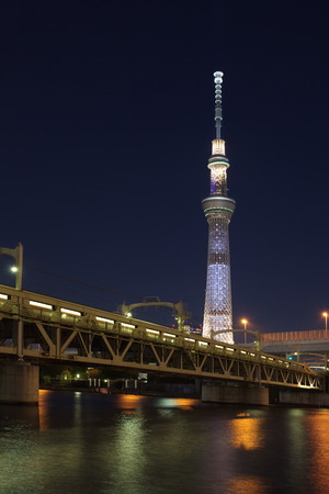 oshiage: Tokyo city view and Sumida river with Tokyo sky tree