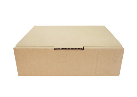 Brown box paper isolated on a white background photo