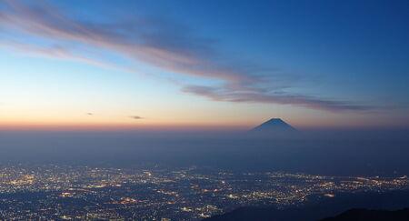 Mountain Fuji and beautiful cloud before sunrise in autumn season photo
