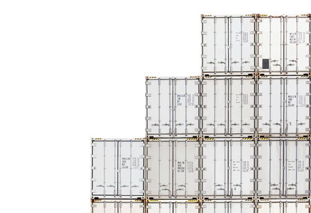 Stack of container shipping isolated on a white background photo