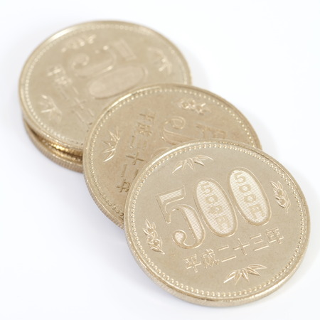 japanese currency: Close - up 500 Japanese currency yen coin