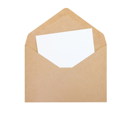 Empty white paper note and brown paper envelope photo