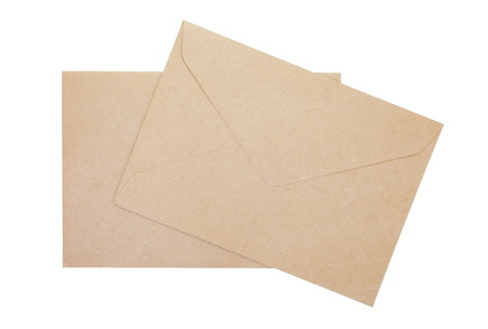 Brown paper envelope isolated on a white background photo