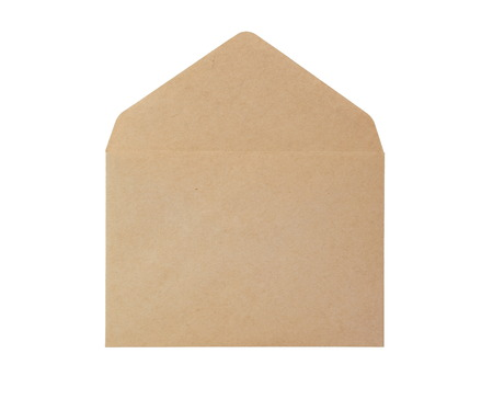 Open brown paper envelope isolated on white background photo