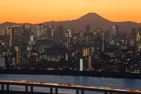 tokyo city: Beautiful sunset view at Tokyo city with Mountain Fuji in background Stock Photo