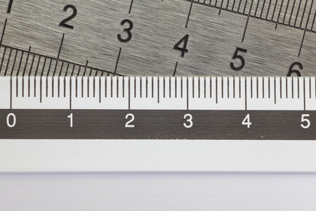 Close - up stainless steel ruler for education concept photo