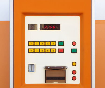 parking ticket: Close - up Electronic parking ticket machine