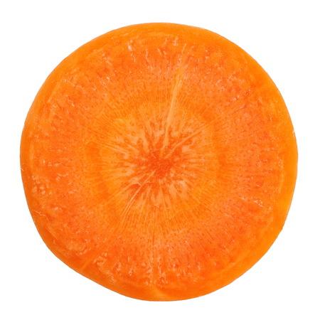 Verse wortel slice op een witte achtergrond Stockfoto