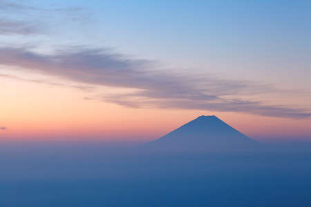 mountaintop: Top of Mountain Fuji and sunrise sky Stock Photo