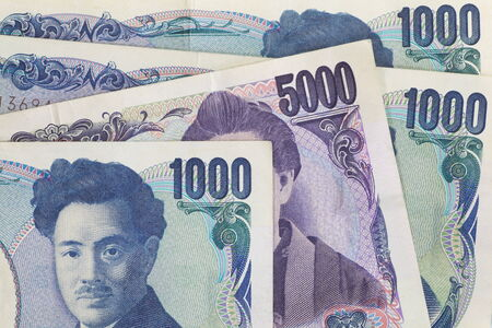 yen note: close up of japanese currency yen bank note Stock Photo