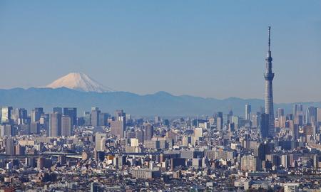 View of Tokyo city with Tokyo sky tree landmark and mountain fuji in winter season
