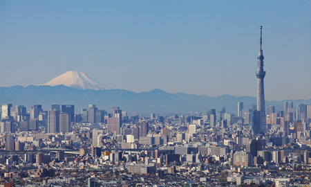 View of Tokyo city with Tokyo sky tree landmark and mountain fuji in winter season Stock Photo - 34464161