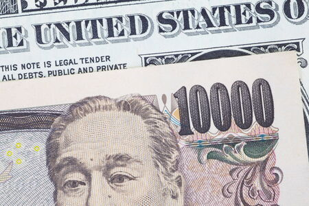 yen note: Japanese yen bank note and dollar bank note