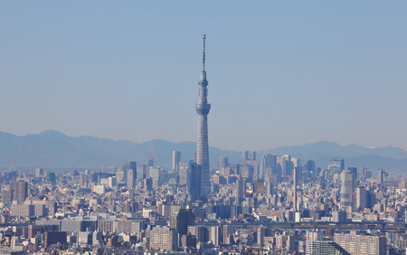 oshiage: Tokyo sky tree and view of Tokyo city Editorial