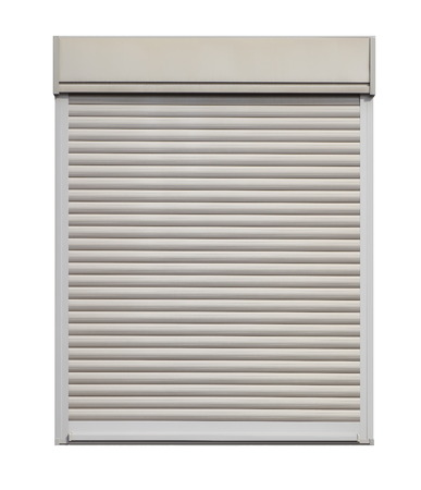 White door roller shutter isolated on white  background photo