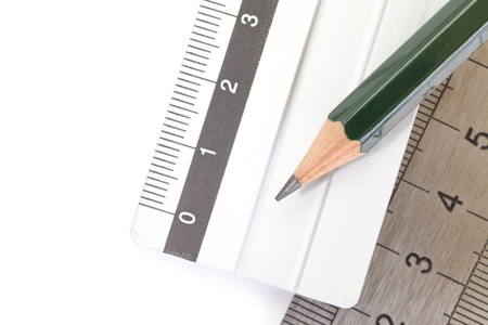 education concept: Pencil and Stainless steel ruler for education concept