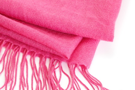 Pink silk scarf on a white background 写真素材