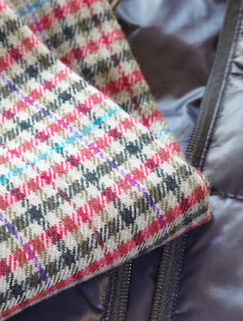 Close - up Warm knitted scarf red 写真素材