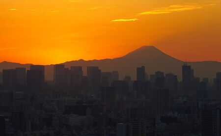 tokyo city: Tokyo city view in sunset time with mountain fuji
