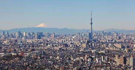東京スカイツリーと山の富士と東京シティー ビュー