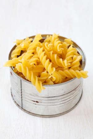 Italian Macaroni Pasta raw food on wood table photo