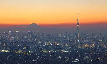 tokyo city: Tokyo city view with Tokyo skytree and mountain fuji
