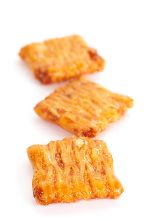 sweet and savoury: japanese Otsumami rice cracker or crunchy snack chip and peanut Stock Photo