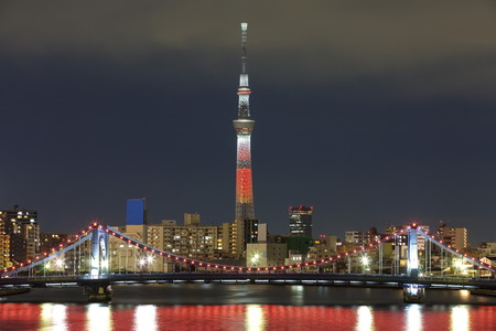 tokyo city: Tokyo city view and Tokyo sky tree with red christmas light up