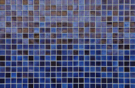 blue mosaic tile wall seamless background and texture photo