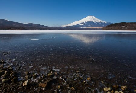 Mountain Fuji and lake Yamanakako in winter season photo