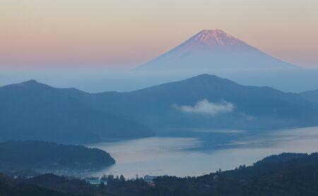 Mountain Fuji and lake ashi in early morning photo