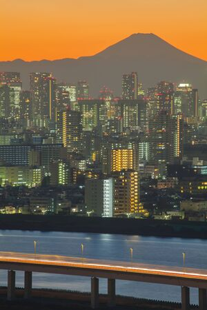tokyo city: Mountain Fuji with Tokyo city view at sunset time