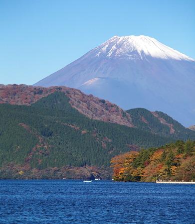 Mountain Fuji and lake ashi in autumn season photo