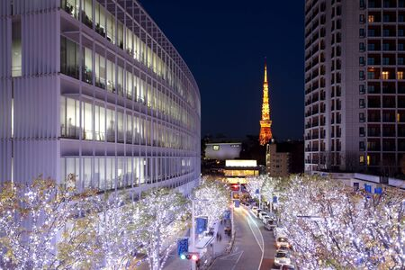 Tokyo Illuminations van het licht van Kerstmis op Roppogi Hill Stockfoto - 37223193